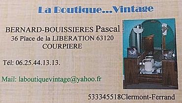 Carte de visite la boutique Vintage, membre d'Horizon Courpière