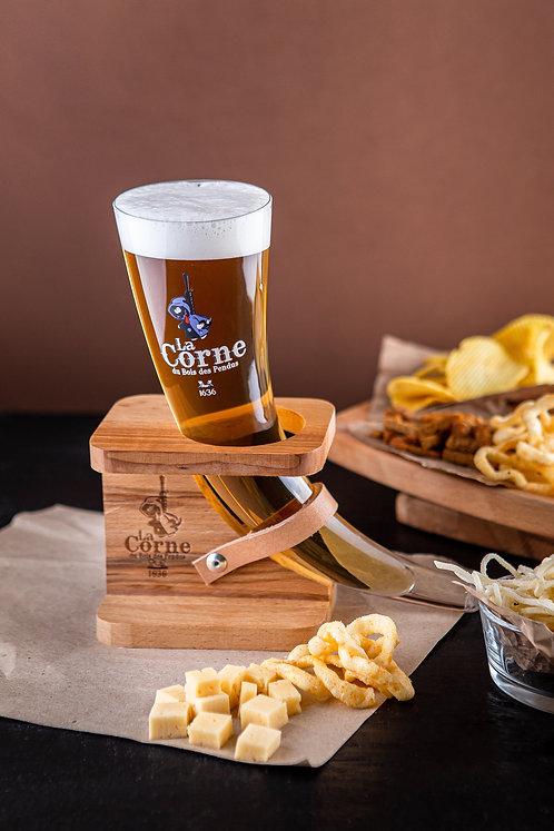 Пивная колба La Corne 0.33л., на деревянной подставке