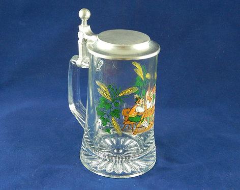 Немецкая стеклянная пивная кружка с крышкой 0,5 литра