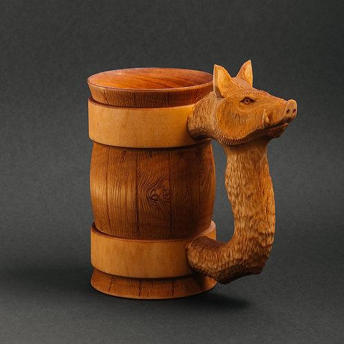 Деревянная пивная кружка Кабан 0,5литра