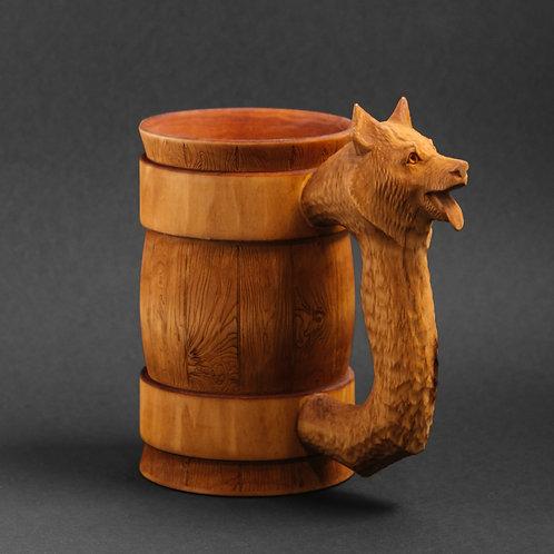 Деревянная пивная кружка Собака 0,5 литра