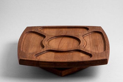 Менажница деревянная для снеков и закусок, крутящаяся, цвет орех | krujka
