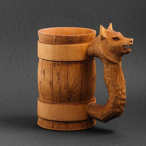 Деревянная пивная кружка Волк  0,5 литра