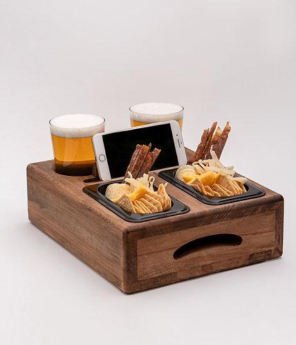 Деревянный поднос для пива и закусок пивница