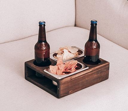 """Поднос для пива и закусок """"БирБокс №2"""", натуральная сосна, цвет орех"""