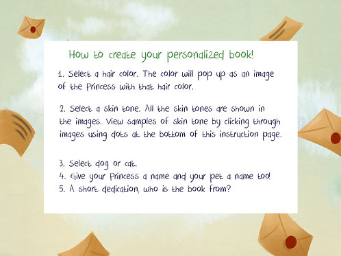 Personalize your book! Select hair and skin-tones.