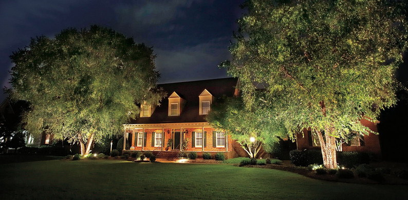 House with Landscape Lighting