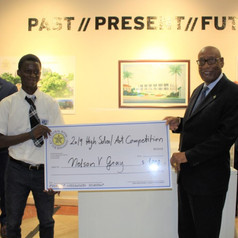 Nelson V. Gray (3rd price winner) and His Excellency the Governor General of The Bahamas, Cornelius A. Smith