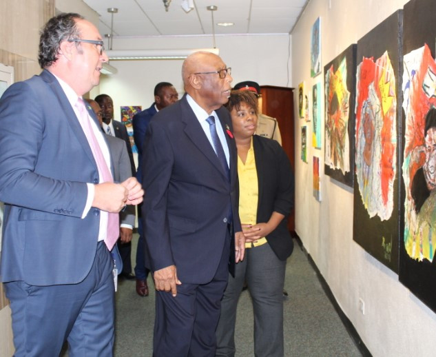 His Excellency and the Director of Culture, Rowena Portier are touring the exhibition with the CBoB curator.