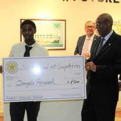 Deangelo Renard (1st price winner) and His Excellency the Governor General of The Bahamas, Cornelius A. Smith