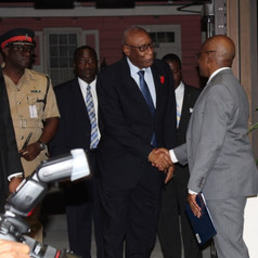 His Excellency the Governor General of The Bahamas, Cornelius A. Smith being welcomed by Deputy Governor Derek Rolle