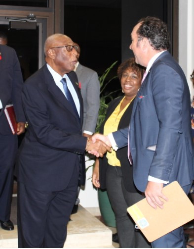 His Excellency the Governor General of The Bahamas, Cornelius A. Smith being welcomed by the Curator Ulrich Voges and the Director of Culture, Ms. Rowena Portier