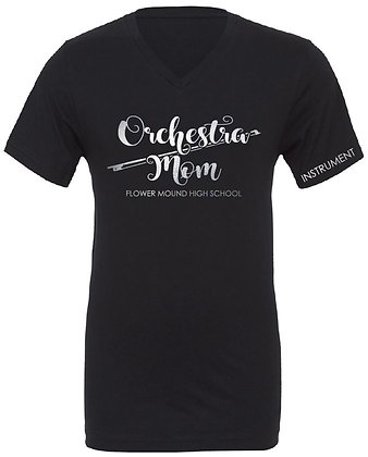 Orchestra Mom Ladies Fit V-Neck Tee (Black with Silver)