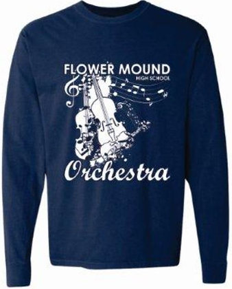 Long Sleeve Comfort Color Tee (Navy with White)