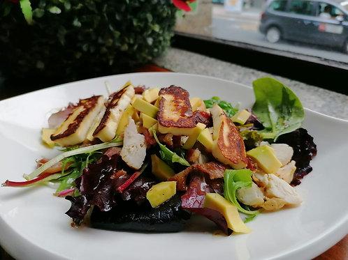 Chicken Bacon Avocado Halloumi Salad