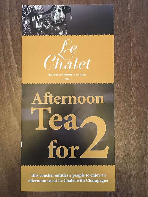 Afternoon Tea Tea for 2 with glass of bubbly each Voucher