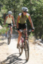 Two female mountain bikers on trail.