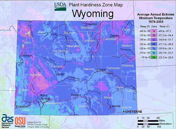 USDA Wyoming plant hardiness zone map