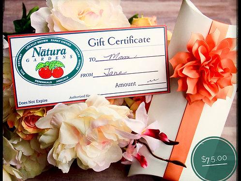 Seventy Five Dollar Gift Certificate