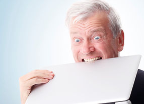 Man angry with laptop