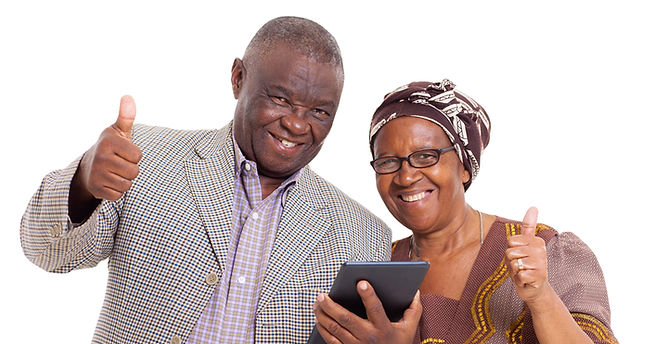 Couple confident with technology