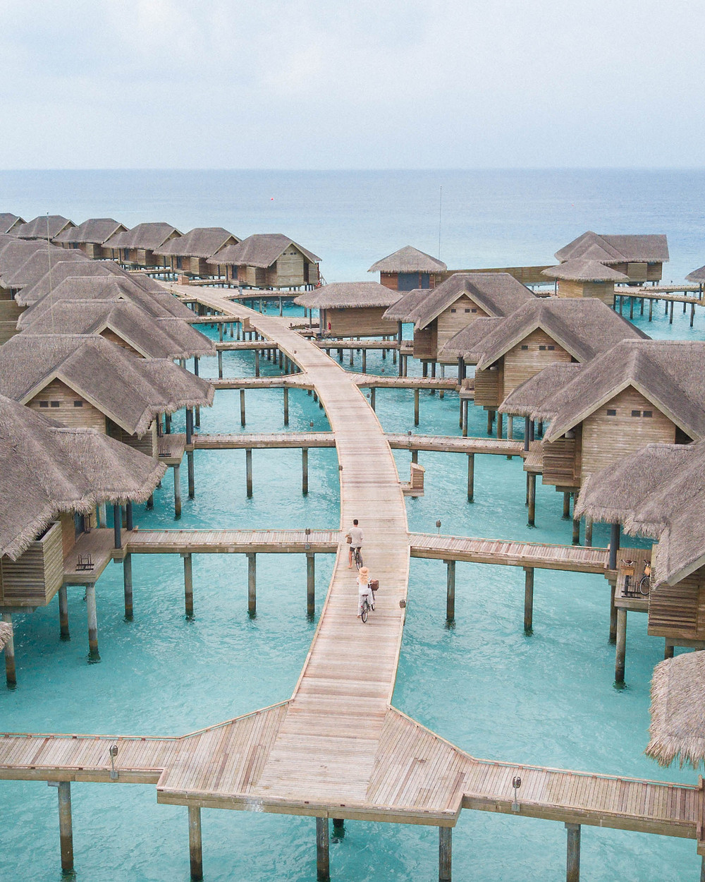 Vakkaru Resorts overwater bungalows. We cycled around the island bare-foot on complimentary push bikes