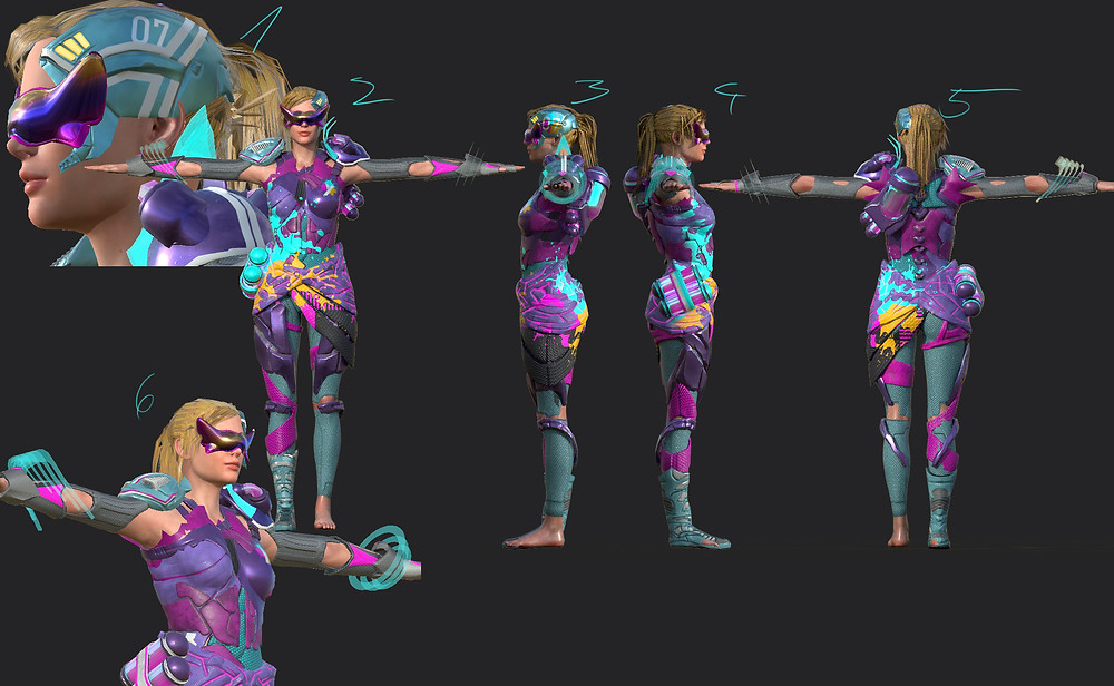 Neyon Clash female character with texture and neon splashes