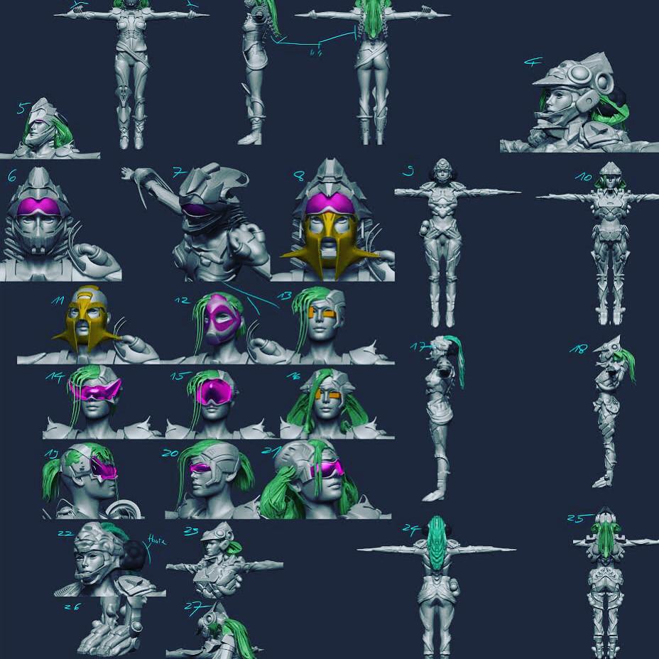 Neyon Clash 3D Character Design drafts
