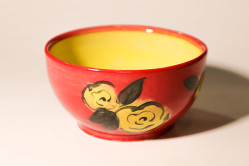 Red Floral Cereal Bowl
