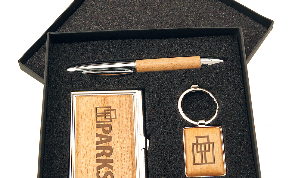 Gift Set with Card Case, Pen & Keychain