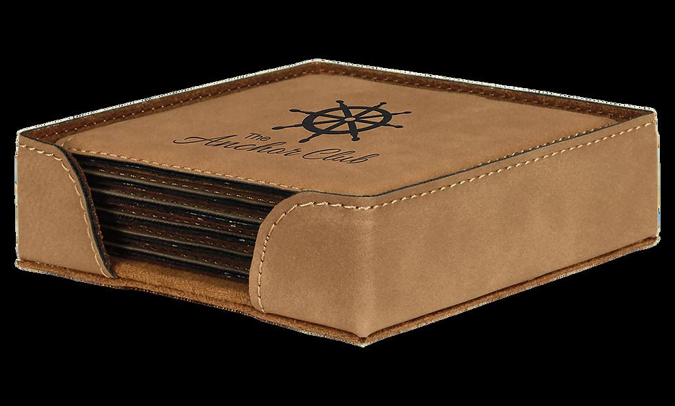 Square Leatherette 6-Coaster Set