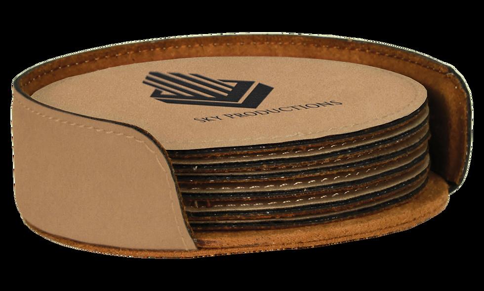 Round Leatherette 6-Coaster Set