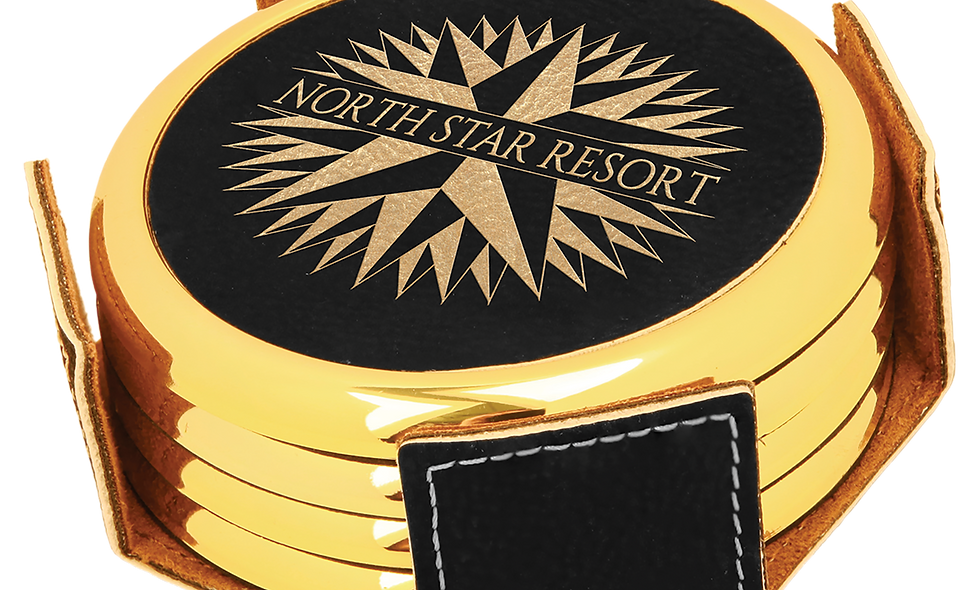 Round Black & Gold Leatherette with Gold Edge 4-Coaster Set