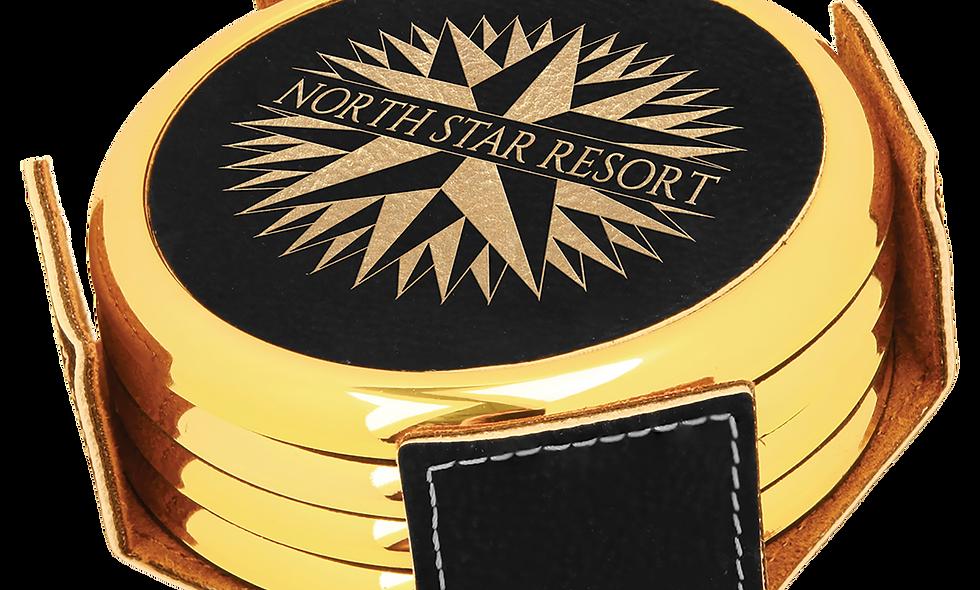 Round Black & Gold Leatherette with Gold Edge 4-Coaster Set