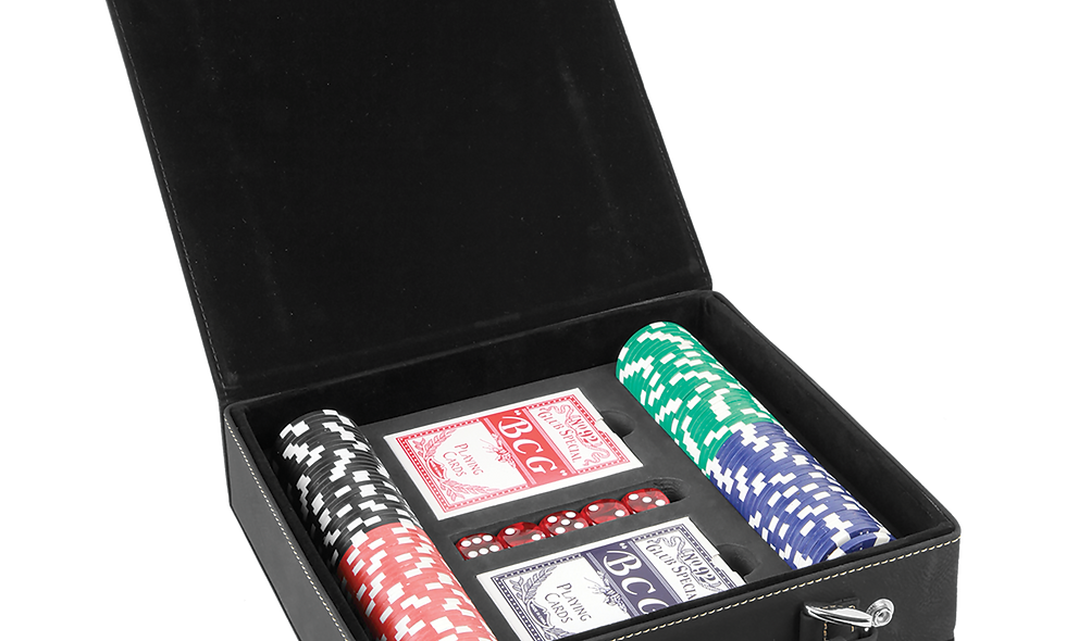 Leatherette Poker Set with 100 Chips, 2 Decks of Card & 5 Dice