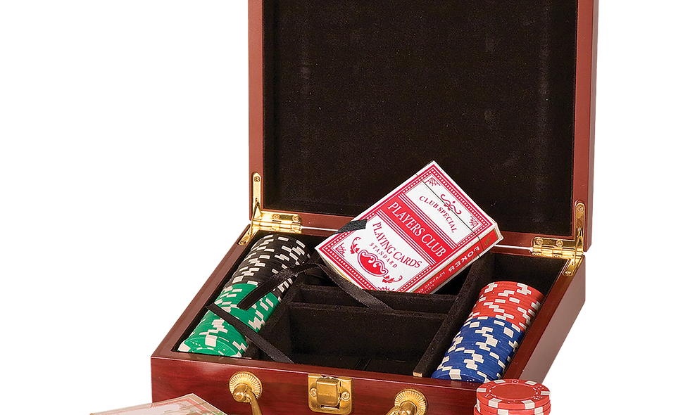 Rosewood Finish Poker Gift Set with 100 Chips, 2 Decks of Cards & 5 Dice