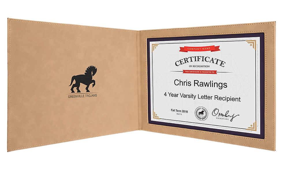 """Leatherette Certificate Holder for 8 1/2"""" x 11"""" Certificate"""
