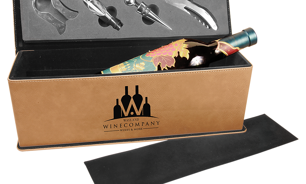 Leatherette Single Wine Box with 4 Tools