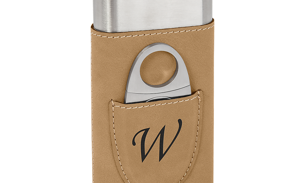 Leatherette Wrapped Stainless Steel Cigar Case with Cutter