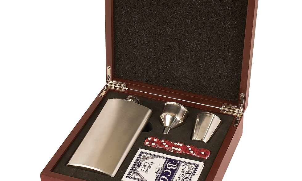 Flask Set with 7 oz. Flask, Shot Glass, Cards & 5 Dice