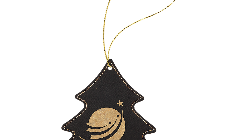 Leatherette Tree Ornament with Gold String (double-sided)
