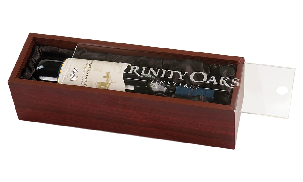 Wine Box with Clear Acrylic Lid & Black Lining