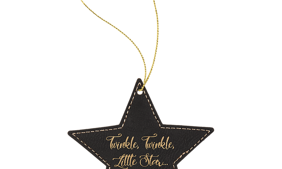 Leatherette Star Ornament with Gold String (double-sided)