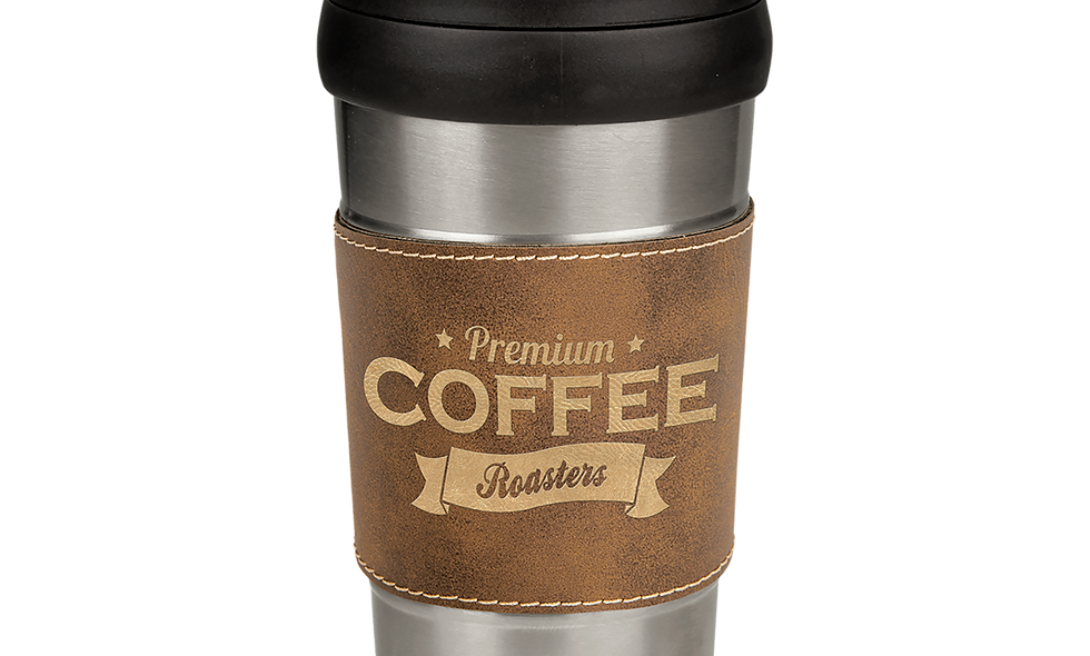 16 oz. Stainless Steel Travel Mug with Leatherette Grip