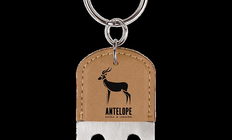 Leatherette Oval Bottle Opener Keychain