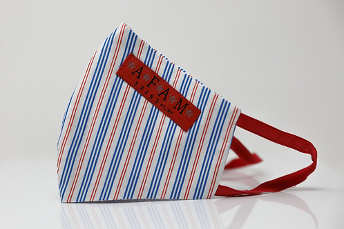 AFAM BRAND COTTON FACE MASK (Red, White & Blue striped/ Round Style)