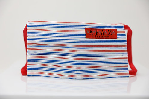 AFAM BRAND COTTON FACE MASK (Red, Wht & Blu striped/ Flat Style
