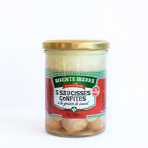 Saucisses confites à la graisse de canard