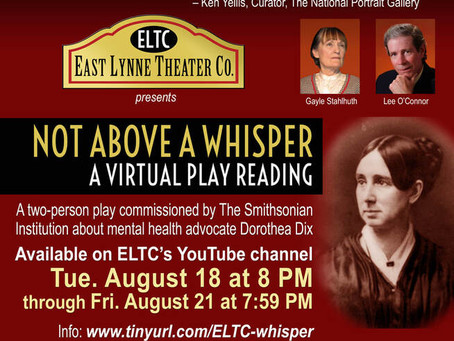 "East Lynne Theater Tackles Mental Health with Virtual Reading of ""Not Above A Whisper"""