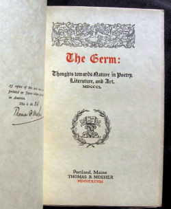 Title-page from a Japan vellum copy of The Germ (1898, one of 25 signed by Mosher)